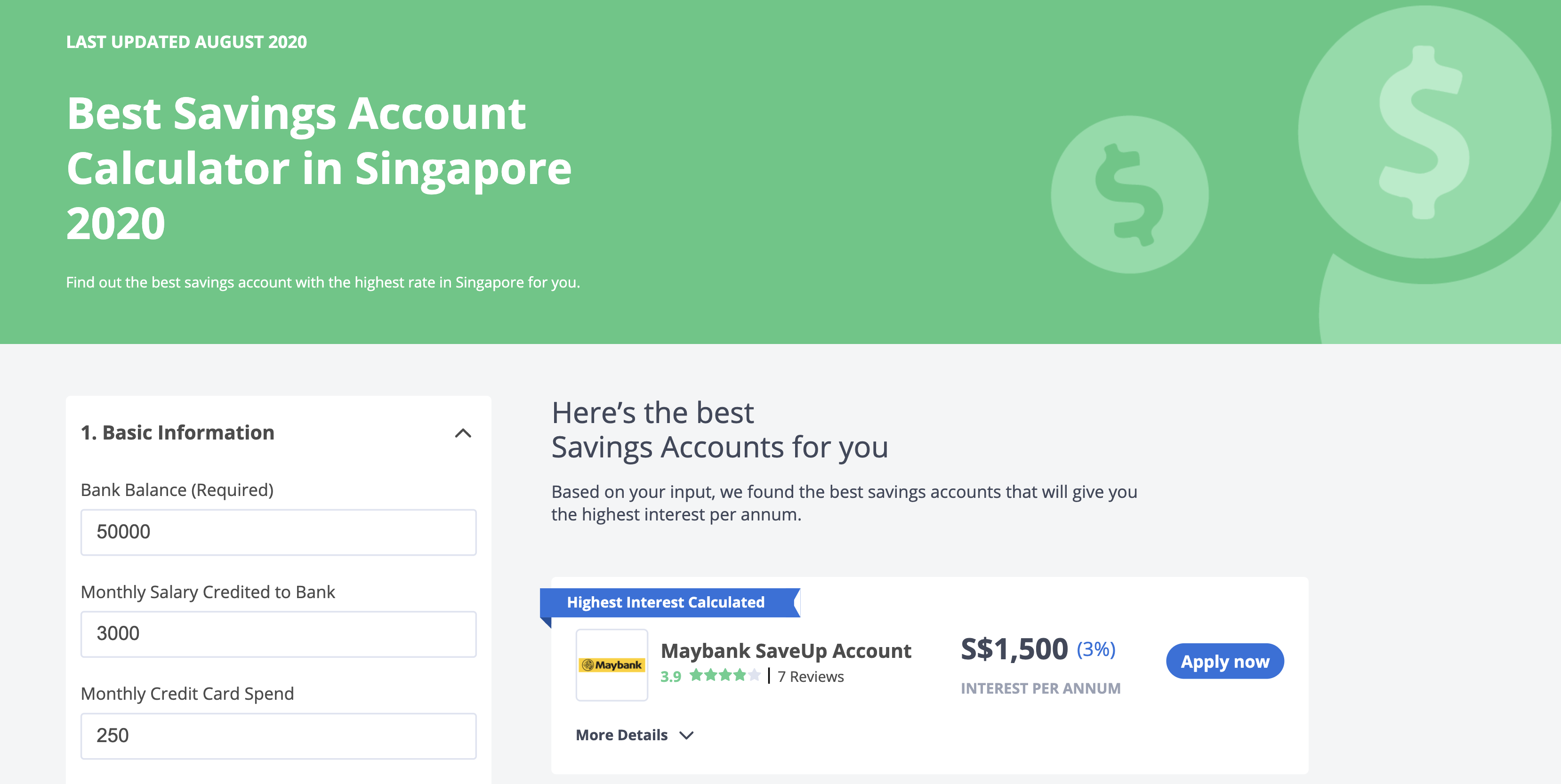 Seedly Savings Account Calculator