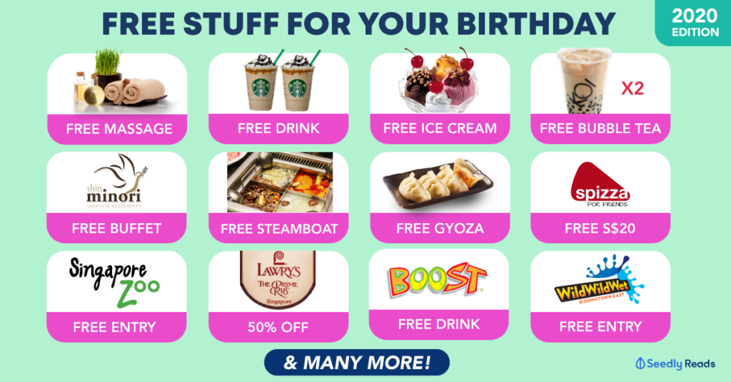 Compilation of free birthday deals and promos in Singapore for 2020