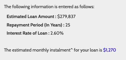 Monthly instalment of HDB loan