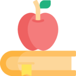 education book and apple