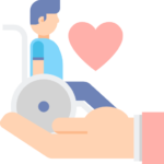 man on wheelchair long-term care disability with a heart and hand
