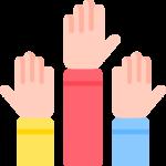 three hands raise