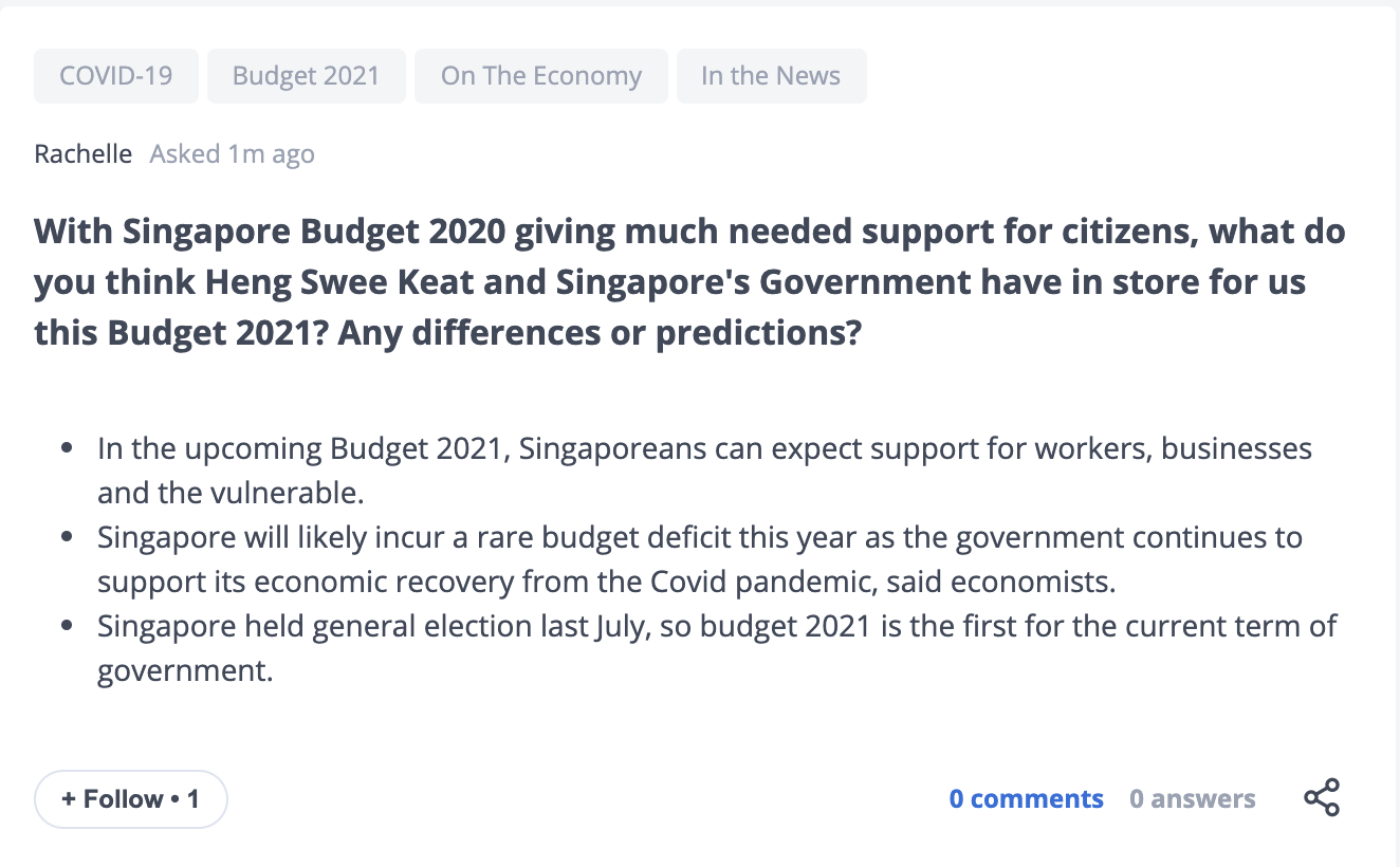 Singapore Budget 2021 predictions on Seedly